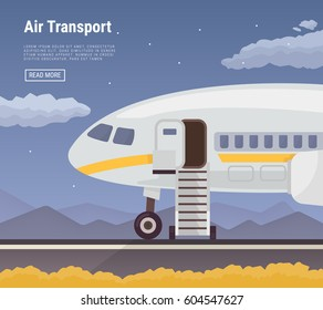 Airplane in the airport vector illustration. Airplane view from side. Flat design icons, air holidays background.