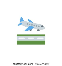 Airplane Arrival, passenger air plane landing, taking off vector illustration flat icon symbol cartoon style emoticon