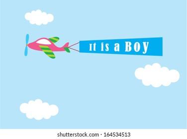airplane baby boy announcement のベクター画像素材 ロイヤリティ