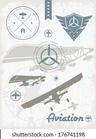 Airplane badges, illustrations and icons