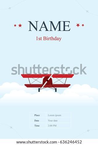 Airplane Birthday Card Vector Illustration