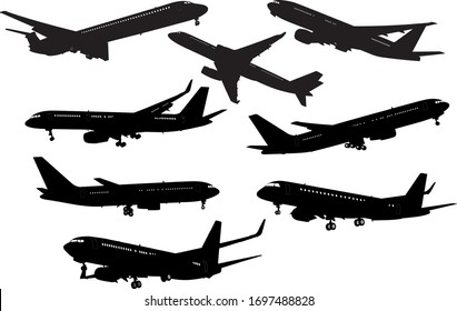 Airplane black and white silhouettes. Color illustration.
