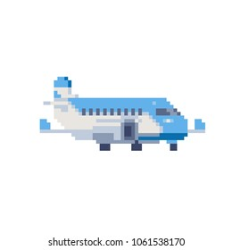 Airplane blue color pixel art 80s style icon isolated vector illustration. Game assets 8-bit sprite. Design for stickers, logo, mobile app.