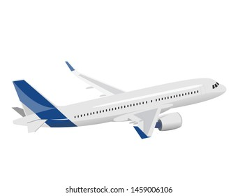 An airplane with a blue tail that is on the air