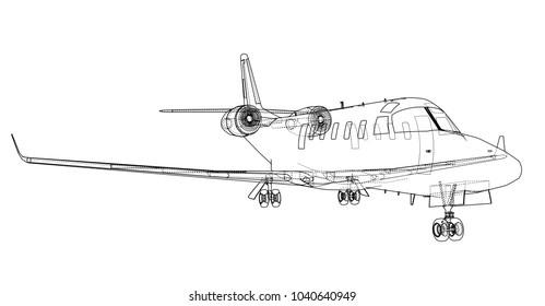 Airplane blueprint. Vector illustration rendering of 3d