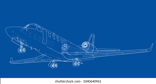 Airplane blueprint. Vector illustration rendering of 3d