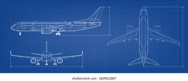 Airplane Blueprint. White Outline Aircraft On Blue Background. EPS10 Vector