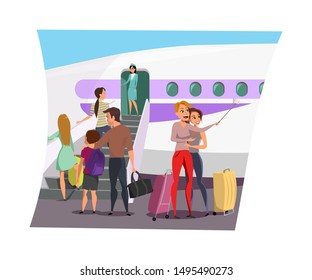 Airplane boarding flat vector illustration. Tourists with luggage in airport cartoon characters. Female travelers with suitcases taking selfie. Flight attendant standing on stairs, greeting passengers