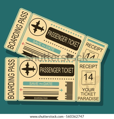 339f1d663a9 Airplane boarding pass with a barcode and seal. Vector illustration in  retro style.