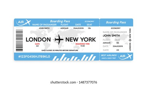 Airplane boarding pass ticket isolated on white background. Concept of travel, journey or business trip. Vector illustration.