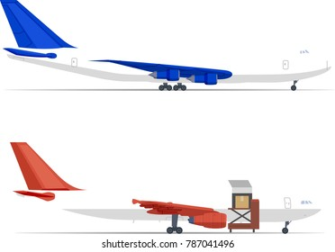 Airplane Boeing 747 - 100-200 cargo  loading in the airport