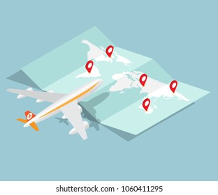 airplane and brochure map with red pin location vector isometric background