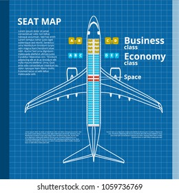 Airplane Business Or Economy Class Seat Map White Contour Template. EPS10 Vector