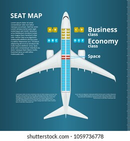 Airplane Business or Economy Class Seat Map Template. EPS10 Vector