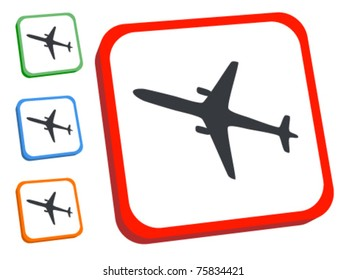 Airplane button. Travel web 2.0 3D-style icon. Plane sign.