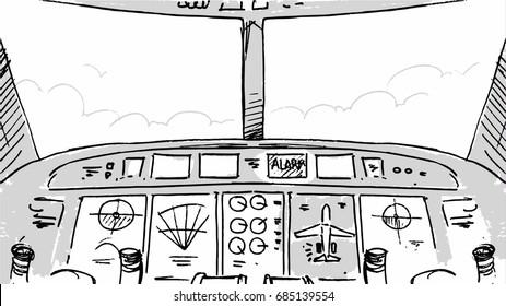Airplane cabin cockpit sketch line art Vector illustrations