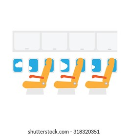 Airplane cabin seats air transportation