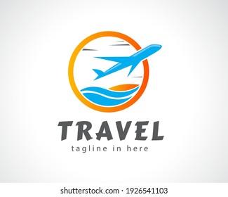 Airplane in circle. World travel tour, flight logo. Design symbol illustration inspiration