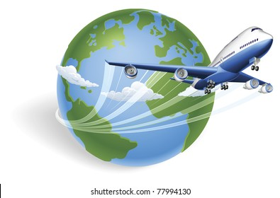 Airplane circling the globe and flying out