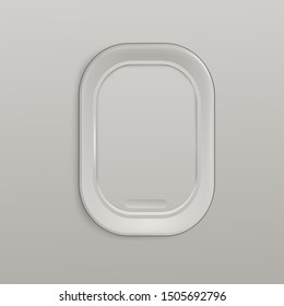 Airplane closed white window or aircrafts porthole 3d realistic vector illustration. Design element or background for tourism, travel and air transportation topic.