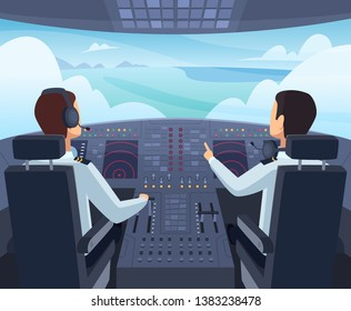 Airplane cockpit. Pilots sitting front of dashboard aircraft inside vector cartoon illustrations