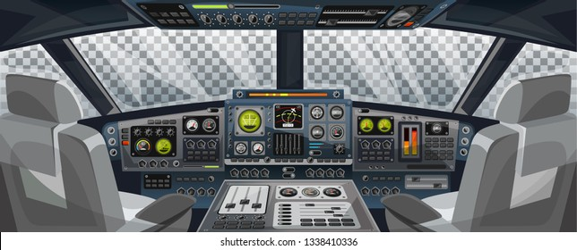 Airplane cockpit view with control panel buttons and transparent background on window view. Airplane pilots cabin with dashboard control and pilots chair for games design. Airplane interface for UI,