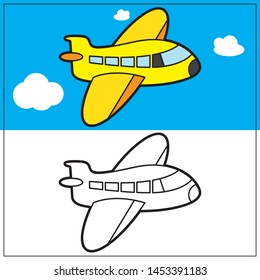 Airplane Coloring Exercise for Kids