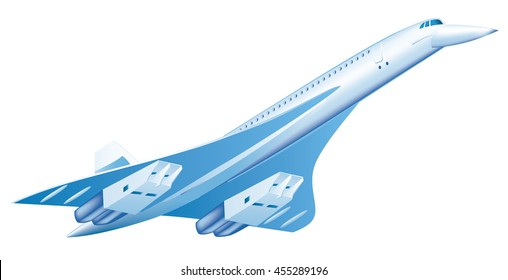 Airplane Concorde a supersonic passenger airliner. Isolated vector illustration