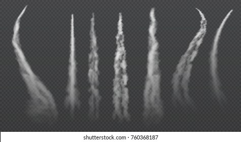Airplane condensation trails. Jet trailing smoke isolated vector set. Foggy trail jet or plane, smoky effect after rocket illustration