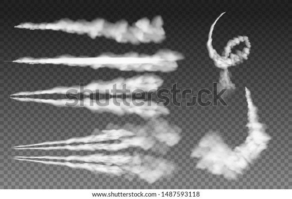 Airplane condensation trails. Plane smoke rocket stream effect airplane jet cloud flight speed burst. Sky contrail rocket condensation trailing isolated vector Illustration