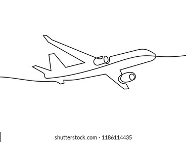 Airplane continuous line sketch
