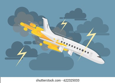 Airplane crash in clouds. Dangerous catastrophy with flame.