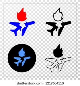 Airplane crash EPS vector pictograph with contour, black and colored versions. Illustration style is flat iconic symbol on chess transparent background.