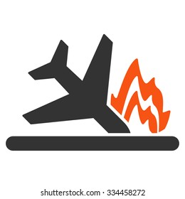 Airplane Crash vector icon. Style is flat symbol, rounded angles, white background.