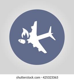 Airplane Crash vector icon. Style is flat symbol,