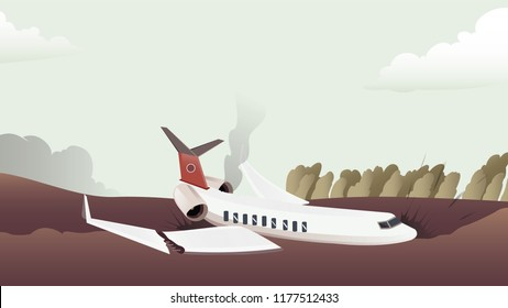Airplane crashed accident. Vector sketch illustration line arts,colorful.