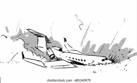 Airplane crashed accident. Vector sketch illustration line arts