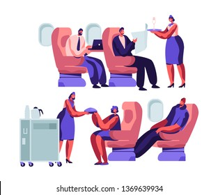 Airplane Crew and Passenger Characters in Plane. Stewardess Giving Meal to Happy People Sitting on Chairs in Economy Class of Aircraft. Airline Transportation Service Cartoon Flat Vector Illustration