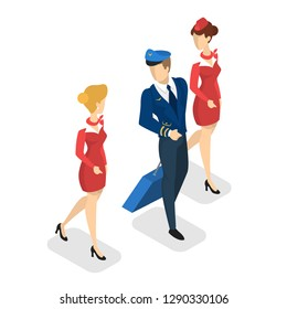 Airplane crew in uniform going with the baggage. Pilot and stewardess in red suit. Flight occupation. Isolated vector isometric illustration
