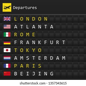 Airplane departures destination table board to major cities in the world with national flags posted inside