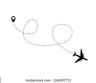 Airplane dotted flight background. Vector Illustration EPS10