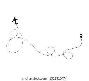 The airplane is in a dotted line. The flying apartment is black. The waypoint is for a tourist trip. and his track on a white background.