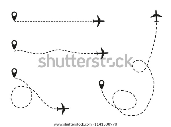 Airplane Dotted Line Flying Apartment Black Stock Vector (Royalty