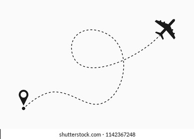 Airplane dotted line path. Air plane route. Vector illustration.