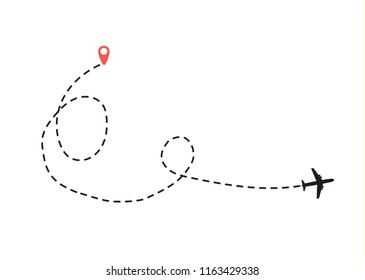 The airplane is in a dotted line. Summer flat is black. The waypoint is for a tourist trip. The dots and its track are on a white background. Vector illustration. Tourism and travel.