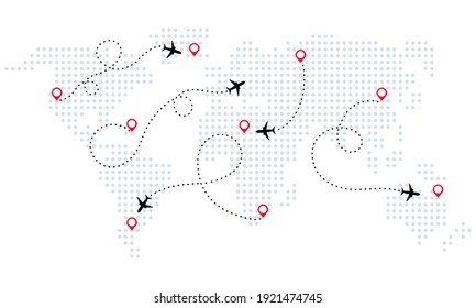 Airplane is in dotted line. World map. World map of airline airplane flight path travel plans. Tourism and travel. Vector illustration in flat style.