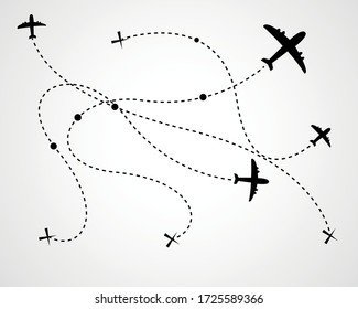 Airplane dotted route line the way airplane. Set. Flying with a dashed line from the starting point and along the path - stock vector.