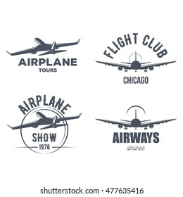 airplane emblems collection for logo design in retro and vintage style. badge design of passenger aircraft signs for posters and t-shirt design