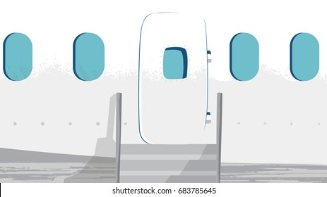 Airplane facade Vector. Door entrance and Windows. Section for projects, templates, banner, advertises