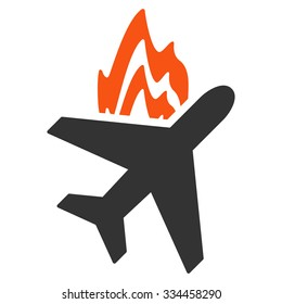 Airplane Fire vector icon. Style is flat symbol, rounded angles, white background.